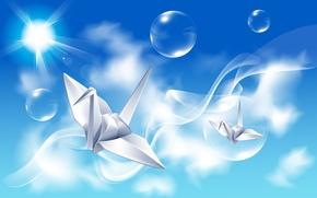 Картинка небо, лучи, птицы, отражение, пузыри, креатив, оригами