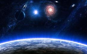 Обои поверхность, планеты, галактики