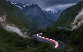 Картинка дорога, свет, горы, выдержка