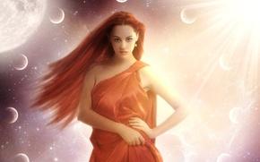 Картинка поза, руки, взгляд, планеты, арт, красные волосы, лицо, глаза, девушка, губы, солнце, фантастика, космос, звезды, …