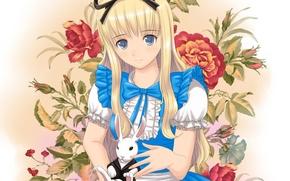 Картинка кролик, арт, девочка, wonderland, alice, xiao lian