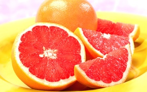 Обои тарелка, фрукт, грейпфрут, grapefruit
