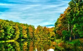 Картинка осень, лес, небо, деревья, озеро, река