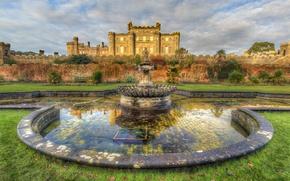 Картинка дизайн, замок, газон, стены, Шотландия, фонтан, скамейки, Culzean Castle