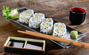Картинка палочки, rolls, sushi, суши, салат, роллы, японская кухня, имбирь, соевый соус, ginger, salad, sticks, soy ...