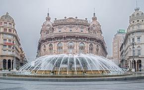 Картинка здания, площадь, Италия, фонтан, Italy, Генуя, Genoa