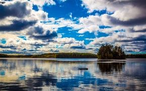 Картинка облака, озеро, остров, Финляндия, Finland, Kullaa