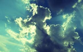 Картинка небо, облака, лучи, фото, легкость, обработка, картинка, невесомость