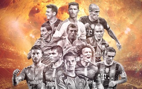Картинка David Luiz, Messi, Ronaldo, Di Maria, Sergio Ramos, Iniesta, Neuer, Kross, Robben, Lahm, team of …
