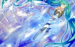 Картинка город, дома, арт, сердечки, Hatsune Miku, Vocaloid, Вокалоид, junji