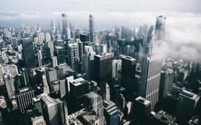 Картинка Мичиган, usa, город, Иллиноис, туман, chicago, небоскребы, Чикаго