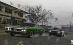 Картинка дорога, дождь, полиция, погоня, Grand Theft Auto V, лос сантос, gta 5
