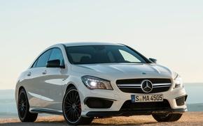 Картинка машина, белый, фары, Mercedes-Benz, мерс, AMG, передок, CLA