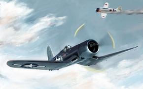 Картинка небо, война, Самолет, бой