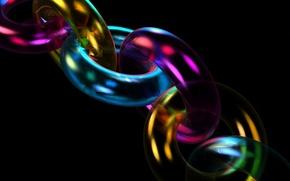 Обои свет, цвет, объем, фрактал, цепь, звено