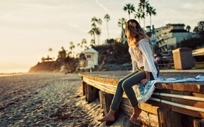 Обои поза, девушка, пляж, песок