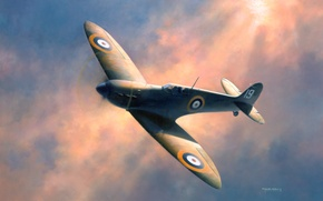Обои sky, WWII, flying, spitfire painting