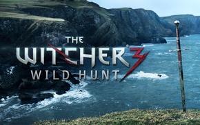 Картинка море, скалы, меч, the witcher 3 wild hunt