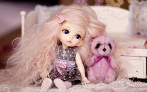 Картинка волосы, игрушки, кукла, девочка, медвежонок