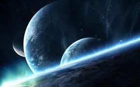 Обои восход, поверхность, звезды, planets, атмосфера
