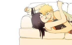Обои девушка, любовь, счастье, диван, чувства, смех, аниме, пара, наруто, парень, Naruto, Хината