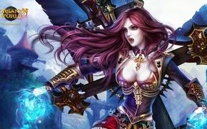 Картинка крест, клыки, девушка вампир, Dark Age-Forsaken World