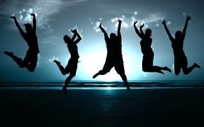 Обои Свобода, люди, берег, синий, прыжок