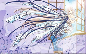 Картинка girl, dress, blue, window, chii, chobits, wind, persocom