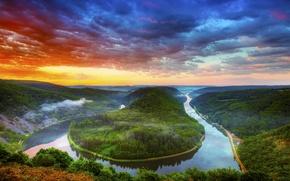 Обои туман, тучи, небо, Река, лес