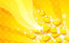 Обои Желтый, волны, лимон, звезды