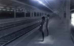 Картинка девушки, вечер, аниме, шарф, арт, телефон, платформа, ladic