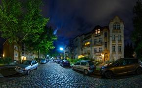 Картинка ночь, улица, здания, Германия, фонари, автомобили, Берлин