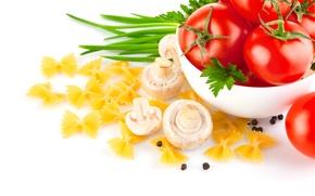 Картинка зелень, грибы, еда, лук, помидоры, макароны