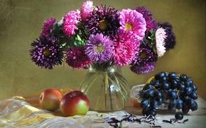 Картинка яблоки, букет, виноград, фрукты, натюрморт, астры
