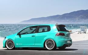 Картинка Volkswagen, Sky, Blue, Beach, Mountain, Golf, Sea, Rear