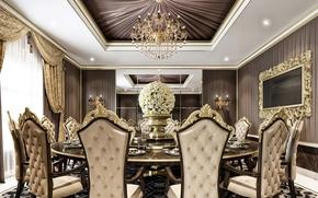 Картинка цветы, дизайн, стол, комната, стулья, интерьер, потолок, ваза, люстры, столовая