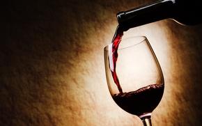 Картинка вино, красное, бокал, бутылка, наливается