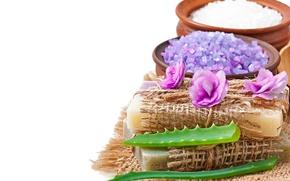 Картинка soap, flowers, lavender, spa, salt, natural, aloe