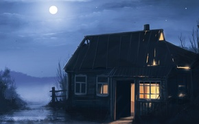 Картинка ночь, дом, дерево, луна, арт, пустош