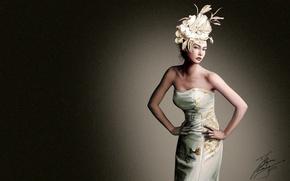 Картинка цветок, девушка, фон, платье, арт