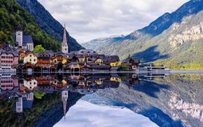 Картинка облака, горы, озеро, отражение, дома, Австрия, Альпы, леса, Austria, Hallstatt, Alps, Гальштат