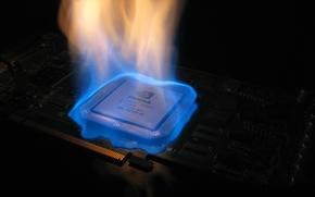 Картинка пламя, чип, ТЕМПЕРАТУРА, плата, микросхемы, огонь