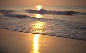 Обои рассвет, море, волны, берег, пляж