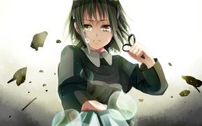 Картинка девушка, слезы, арт, vocaloid, вокалоид, ножницы, gumi, kurabayashi