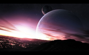 Картинка небо, звезды, город, огни, планеты, спутник