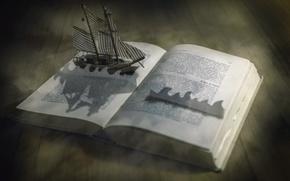 Картинка фон, корабль, книга