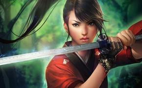 Картинка девушка, магия, кровь, меч, катана, арт, хвост, перчатка, sakimichan, sato