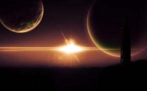 Картинка звезда, планеты, башня, силуэты