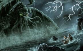 Обои собака, cthulhu, девочка, лодка, море, щупальца, ктулху, Douglas A. Sirois, монстр