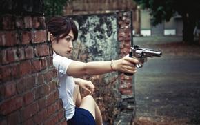 Картинка взгляд, девушка, пистолет, азиатка
